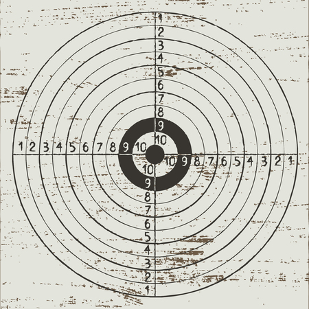 Vintage hand drawn target on white scratched background