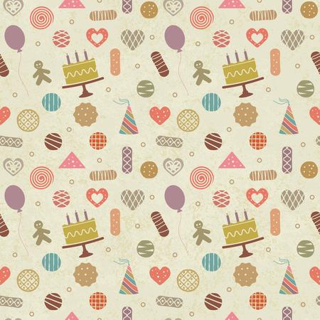 Vintage birthday themed seamless pattern background Illustration