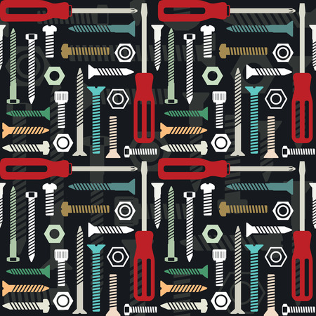 Vector seamless pattern with screws and screwdrivers 3  Ilustrace