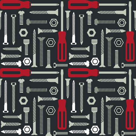 Vector seamless pattern with screws and screwdrivers 2