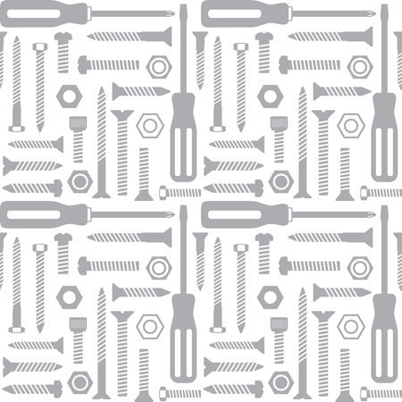 Vector seamless pattern with screws and screwdrivers 1