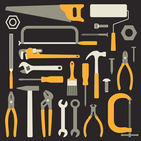 Various hand tools vector silhouette icons on black background