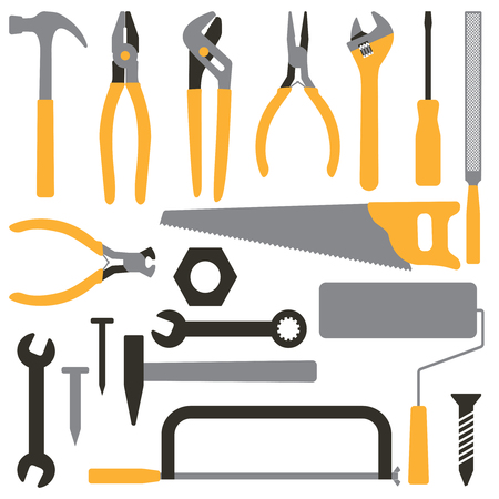 Various hand tools vector silhouette icon set 5 Illustration