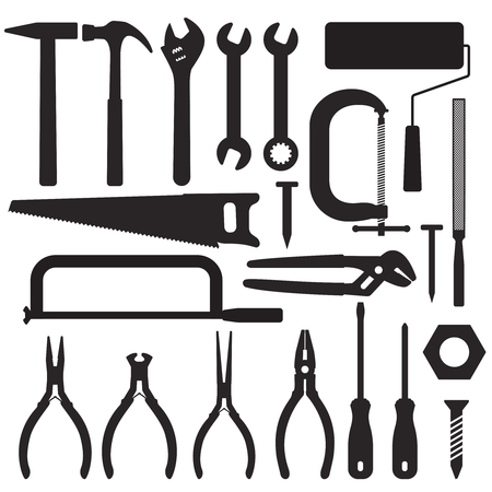 Various hand tools vector silhouette icon set 4