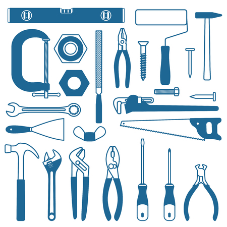 Various hand tools vector silhouette icon set 3  Ilustrace