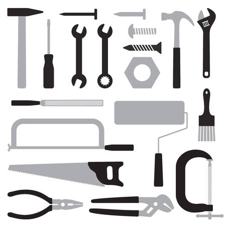 Various hand tools vector silhouette icon set 2