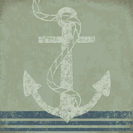 Anchor on grunge background vintage vector illustration 1