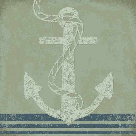 Anchor on grunge background vintage vector illustration 1