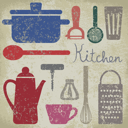 Vintage poster with cooking related objects.