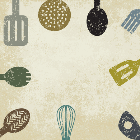 Kitchen utensils on old paper background.