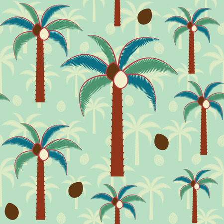 Decorative palm trees inspired vector seamless pattern background