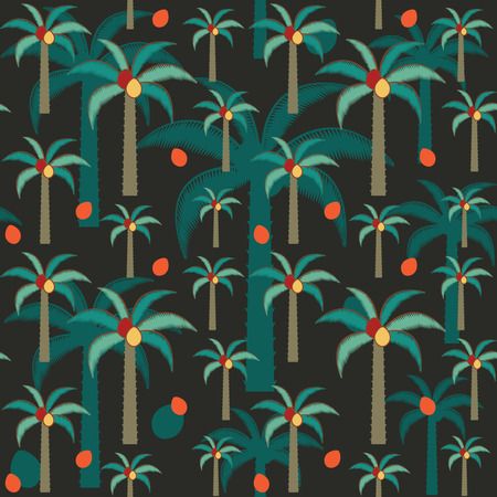 Decorative palm trees inspired vector seamless pattern on dark background .