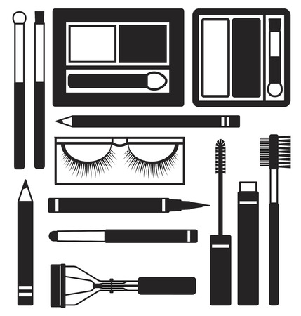 Eyes makeup silhouette icons vector set