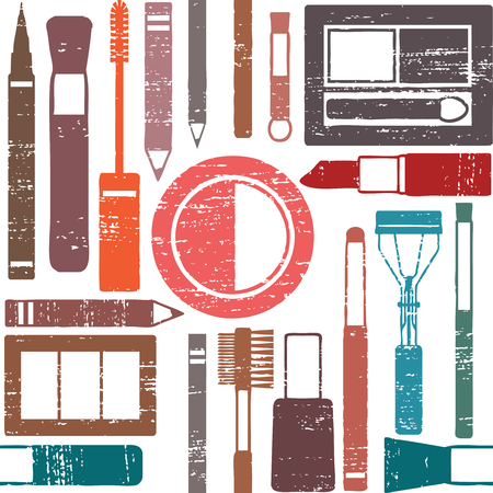 Grunge retro vector seamless pattern background with makeup objects 1  Ilustrace