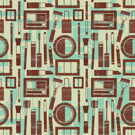 Grunge retro vector seamless pattern background with makeup objects 3
