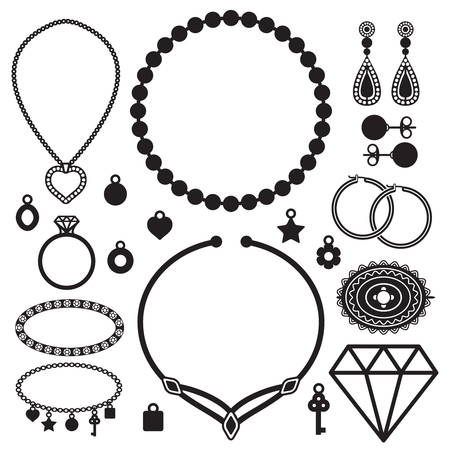 Jewelry silhouette icons vector set