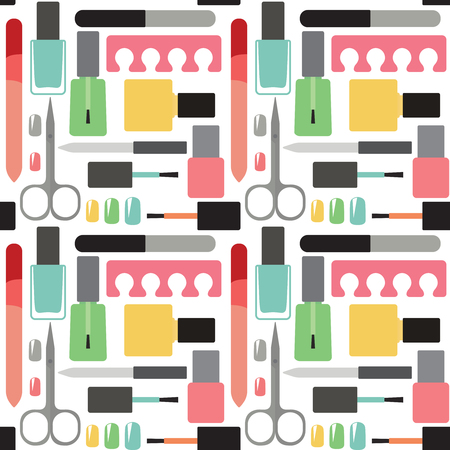 Nail beauty and care vector seamless pattern background  向量圖像
