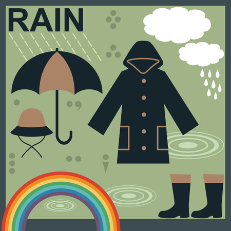 Rain related objects and symbols vector set 1  Çizim