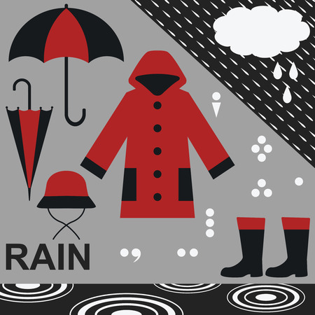 Rain related objects and symbols vector set 2