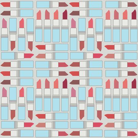 Retro vector seamless pattern background with lipsticks 2