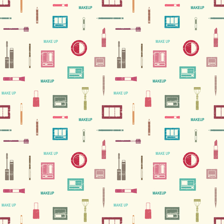 Vector seamless pattern with makeup objects