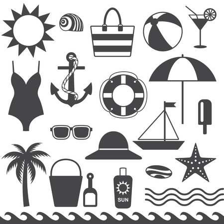 Sea symbols silhouette icons vector set 1  Ilustrace