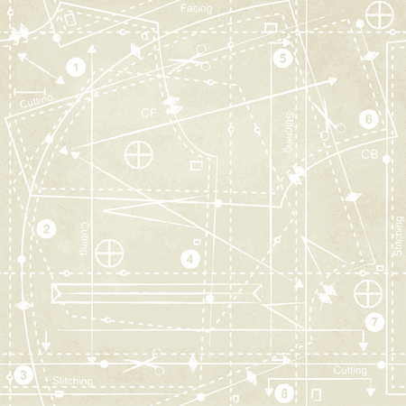 Vintage sewing pattern inspired vector background 3 矢量图像