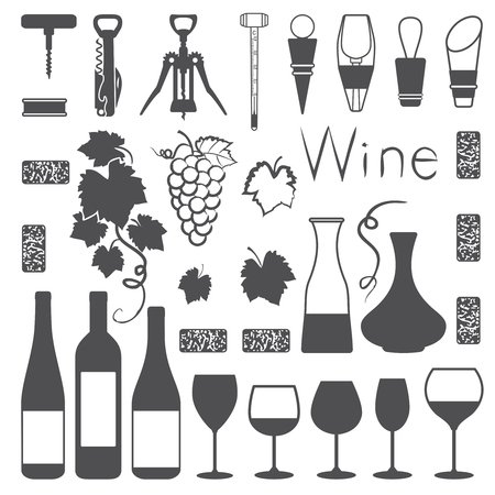 Wine related silhouette icons vector set