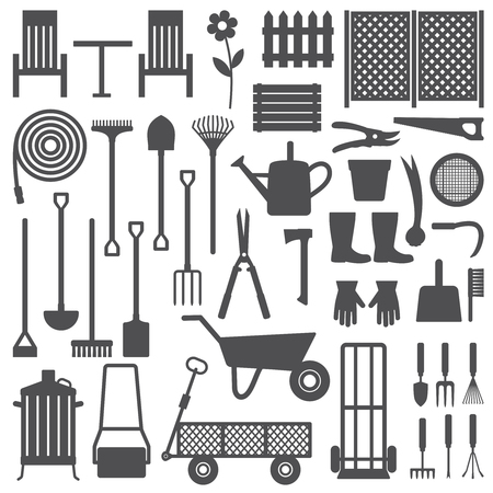 Various gardening related silhouette icons set. Ilustração Vetorial