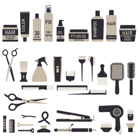 Various vector hair styling related objects set.