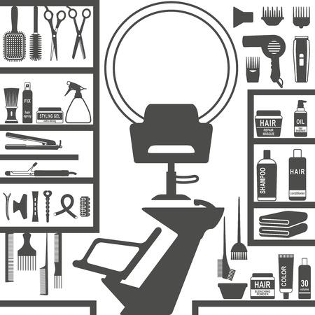 Conjunto de varios iconos de silueta de peluquería.