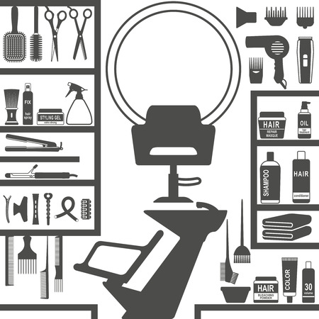Diverses icônes de silhouette de coiffure définies.