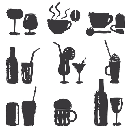Various hand drawn beverages silhouette icons set.