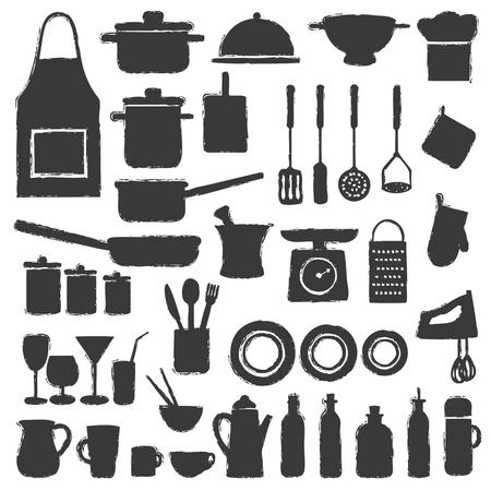 Icone della siluetta della cucina disegnata a mano di vettore vario.