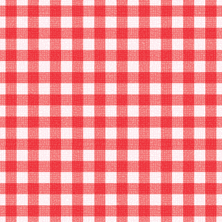 Red and white plaid tablecloth textured vector background.