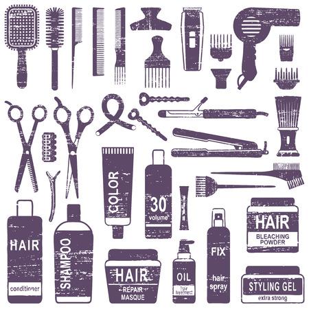 Conjunto de iconos de silueta de peinado de cabello vector rayado. Ilustración de vector