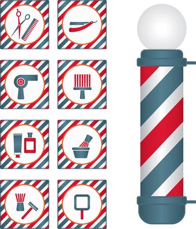 Pôle de salon de coiffure et icônes liées au coiffeur et au coiffeur. Vecteurs