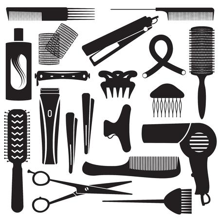 Varios iconos de peluquería de vector.
