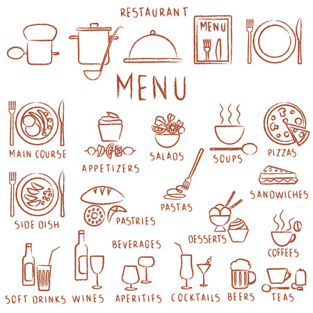Various vector reastaurant related hand drawn outline icons.