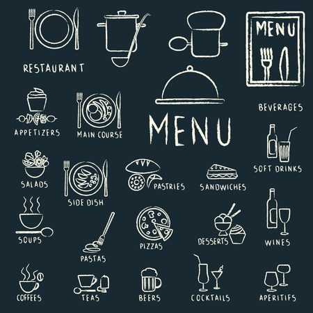Restaurant menu design elements with chalk drawn food and drink icons on blackboard.