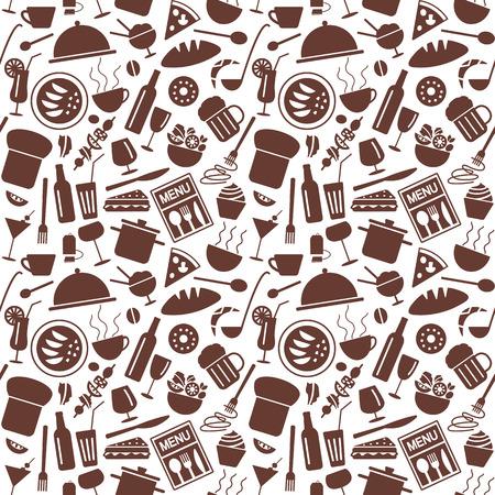 Restaurant symbols related  vector seamless pattern.
