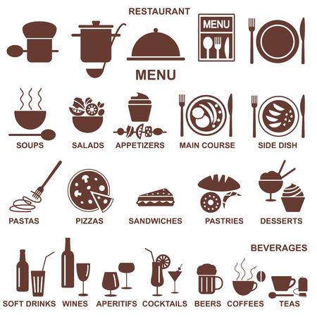 Iconos vectoriales relacionados con el restaurante.