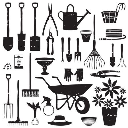 Verschiedene Ikonen im Zusammenhang mit der Vektorgartenarbeit.