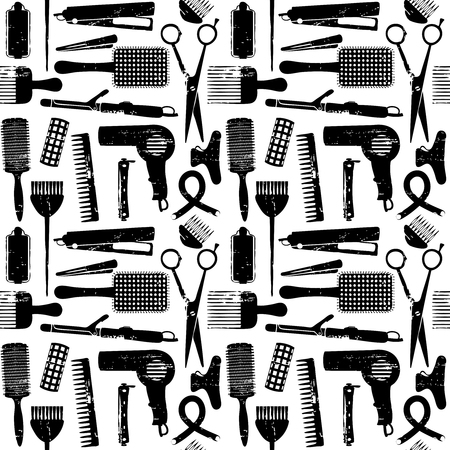 Hair styling related vector seamless pattern. Иллюстрация