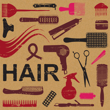 Various scratched hair styling related vector icons. Stock Illustratie
