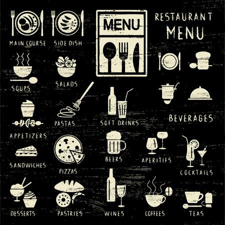 Various scratched restaurant menu elements on blackboard.