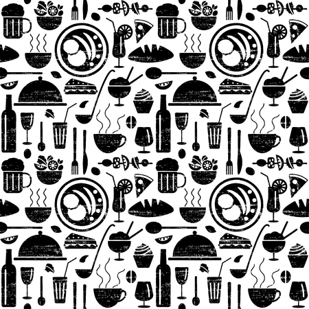 Vector seamless pattern with restaurant menu related objects.