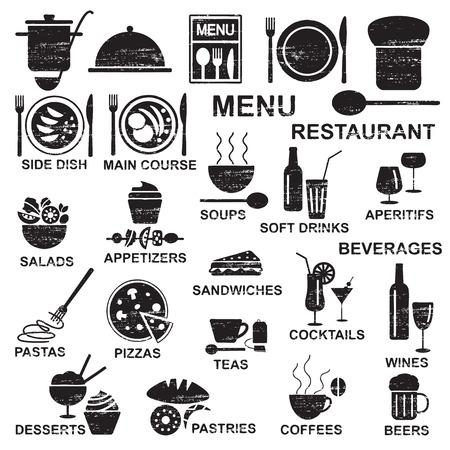 Varios iconos de silueta de alimentos y bebidas de restaurante