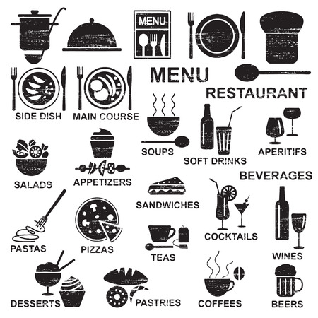 Various restaurant food and beverages silhouette icons Çizim