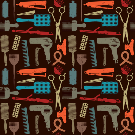 Hair styling related vector seamless pattern.